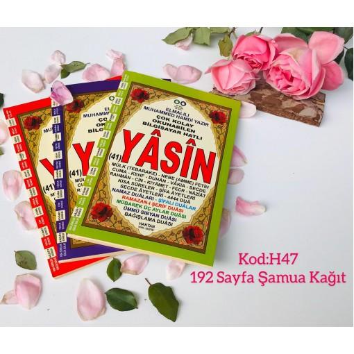 Ortaboy Ramazan dualı Karşılıklı Mealli Türkçe Okunuşlu 192 sayfa İri yazılı şamua Kağıt Fihristli Yasin-i Şerif